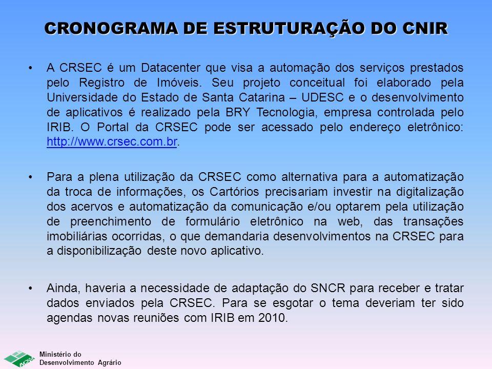 CRONOGRAMA DE ESTRUTURAÇÃO DO CNIR
