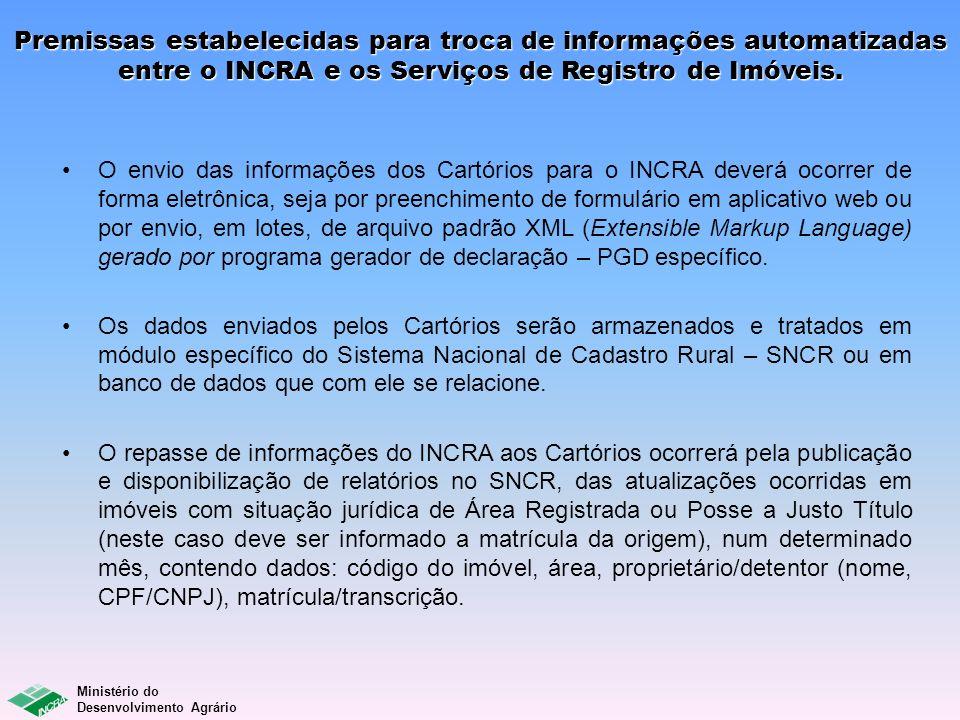 Premissas estabelecidas para troca de informações automatizadas entre o INCRA e os Serviços de Registro de Imóveis.