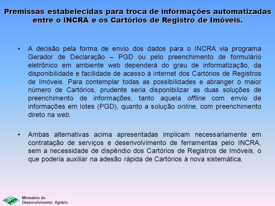 Premissas estabelecidas para troca de informações automatizadas entre o INCRA e os Cartórios de Registro de Imóveis.
