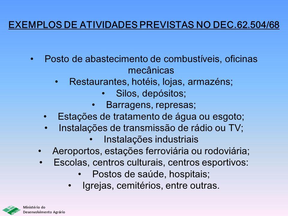 EXEMPLOS DE ATIVIDADES PREVISTAS NO DEC.62.504/68