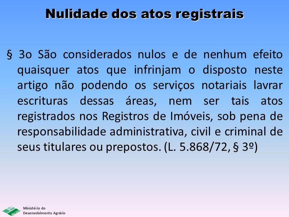 Nulidade dos atos registrais