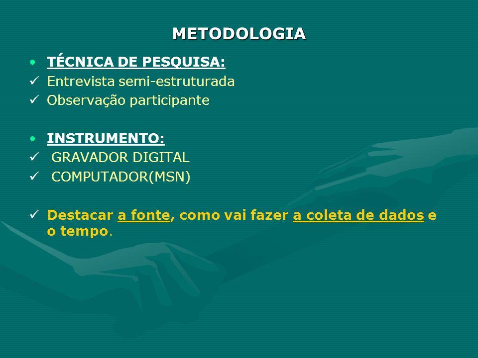 METODOLOGIA TÉCNICA DE PESQUISA: Entrevista semi-estruturada