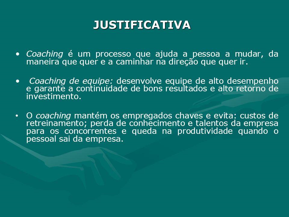 JUSTIFICATIVACoaching é um processo que ajuda a pessoa a mudar, da maneira que quer e a caminhar na direção que quer ir.