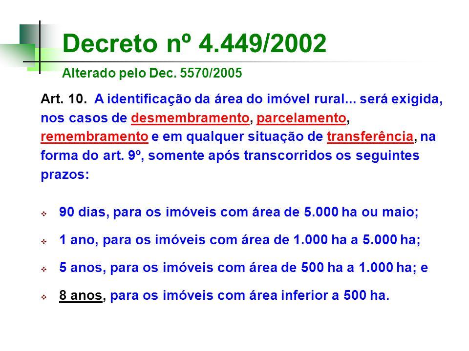 Decreto nº 4.449/2002 Alterado pelo Dec. 5570/2005