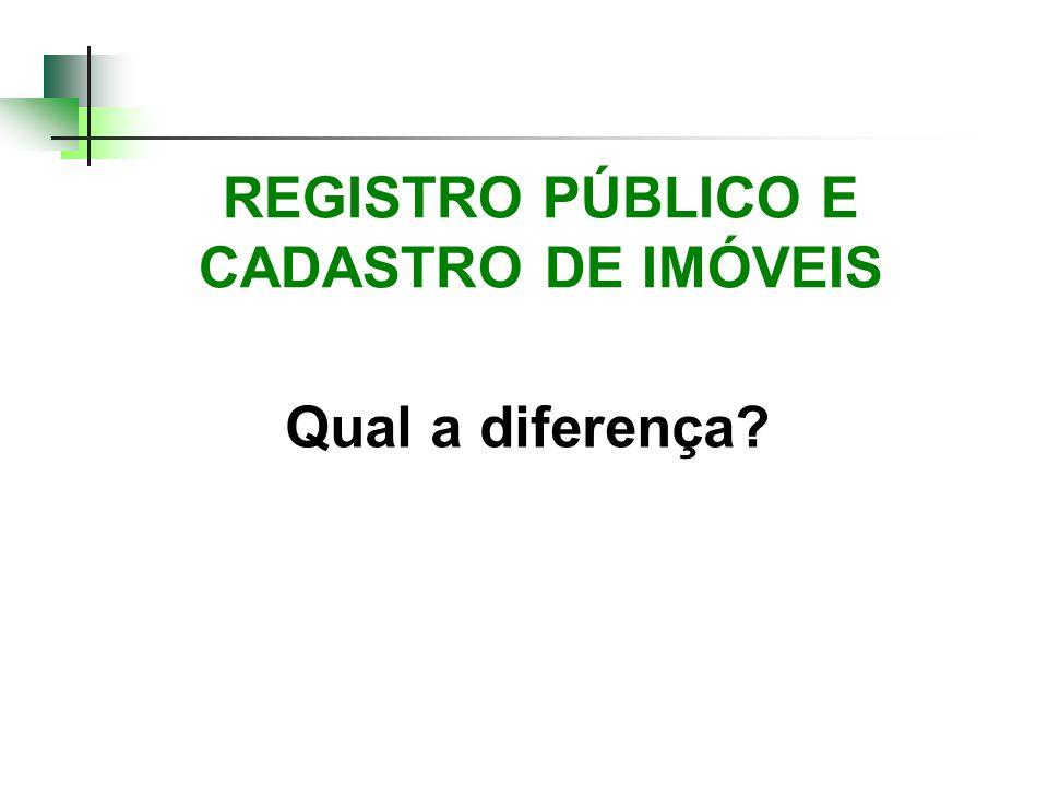 REGISTRO PÚBLICO E CADASTRO DE IMÓVEIS