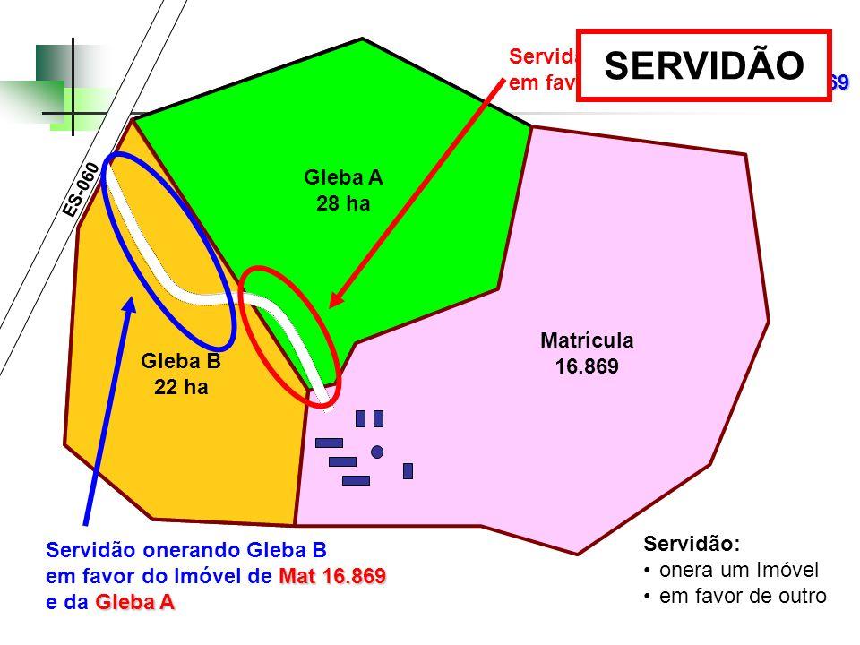 SERVIDÃO Servidão onerando Gleba A em favor do Imóvel de Mat 16.869