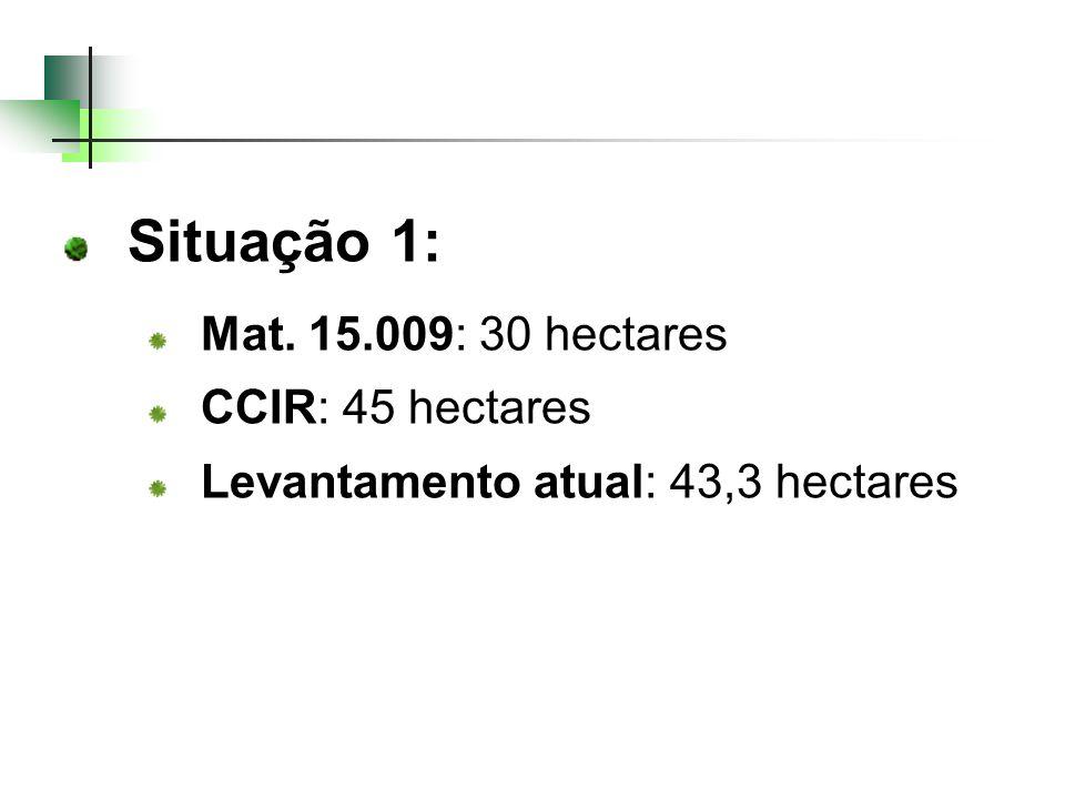 Situação 1: Mat. 15.009: 30 hectares CCIR: 45 hectares