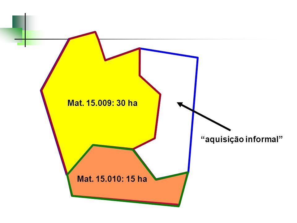 Mat. 15.009: 30 ha Mat. 15.009: 30 ha. CCIR: 45 ha. Geo: 43,3 ha. CCIR. 45 hectares. antiga Mat. 6.091.