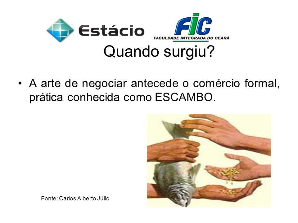 Quando surgiu. A arte de negociar antecede o comércio formal, prática conhecida como ESCAMBO.