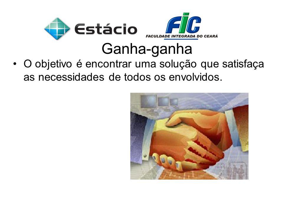 Ganha-ganhaO objetivo é encontrar uma solução que satisfaça as necessidades de todos os envolvidos.