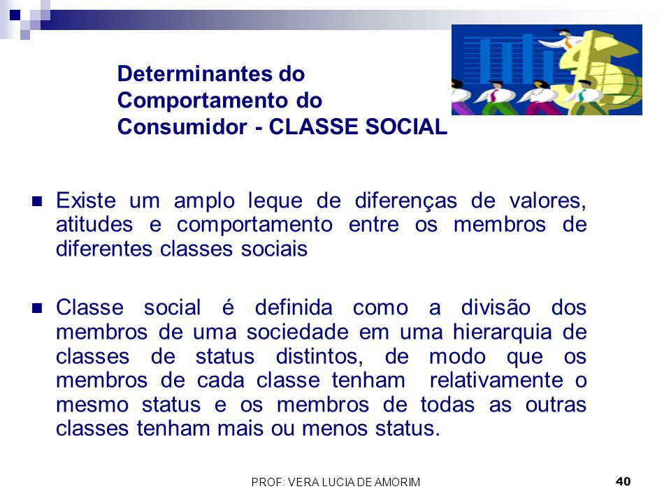 Determinantes do Comportamento do Consumidor - CLASSE SOCIAL