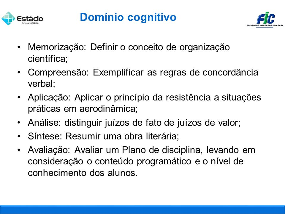 Domínio cognitivo Memorização: Definir o conceito de organização científica; Compreensão: Exemplificar as regras de concordância verbal;