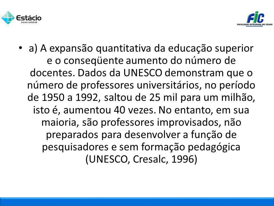 a) A expansão quantitativa da educação superior e o conseqüente aumento do número de docentes.