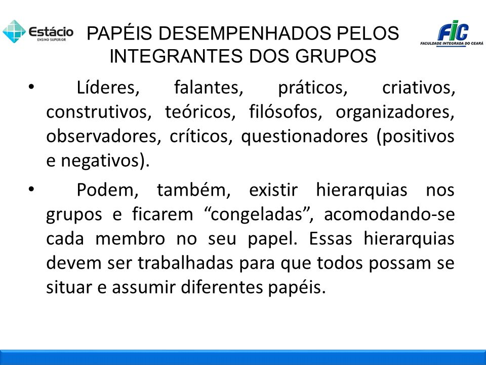PAPÉIS DESEMPENHADOS PELOS INTEGRANTES DOS GRUPOS
