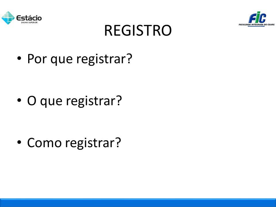 REGISTRO Por que registrar O que registrar Como registrar