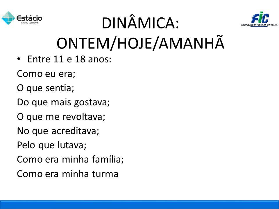 DINÂMICA: ONTEM/HOJE/AMANHÃ