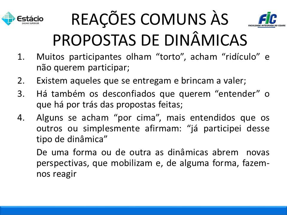 REAÇÕES COMUNS ÀS PROPOSTAS DE DINÂMICAS