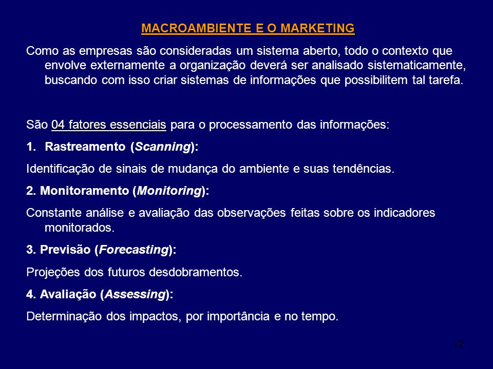 MACROAMBIENTE E O MARKETING