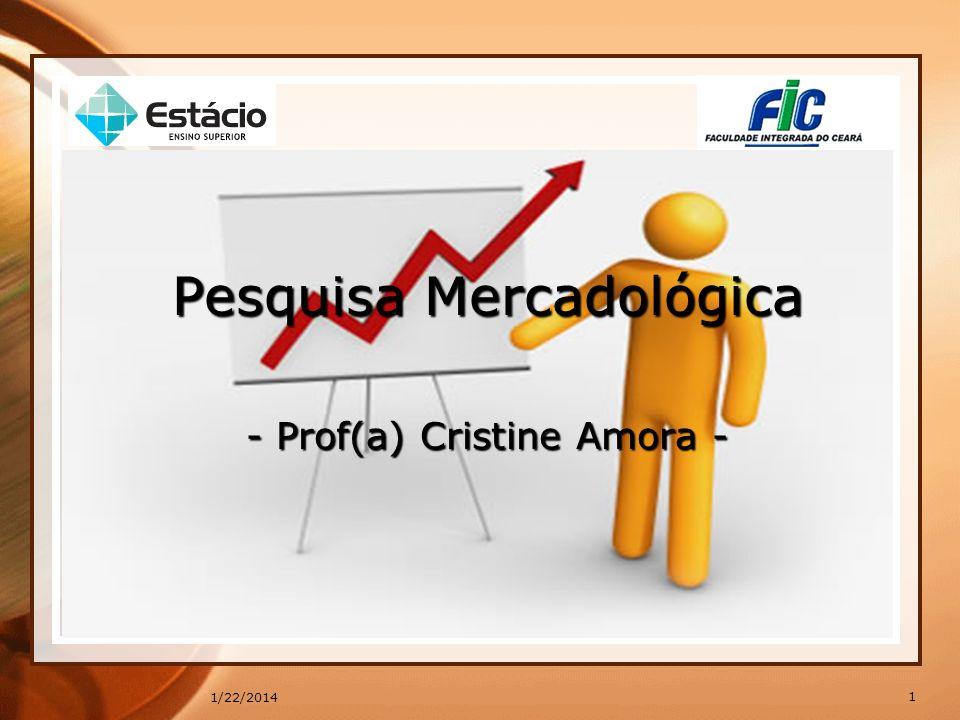 * Pesquisa Mercadológica - Prof(a) Cristine Amora -