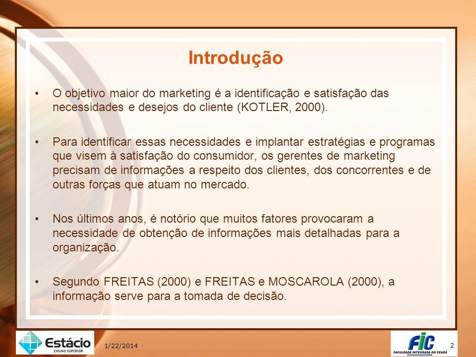 * 16/07/96. Introdução. O objetivo maior do marketing é a identificação e satisfação das necessidades e desejos do cliente (KOTLER, 2000).