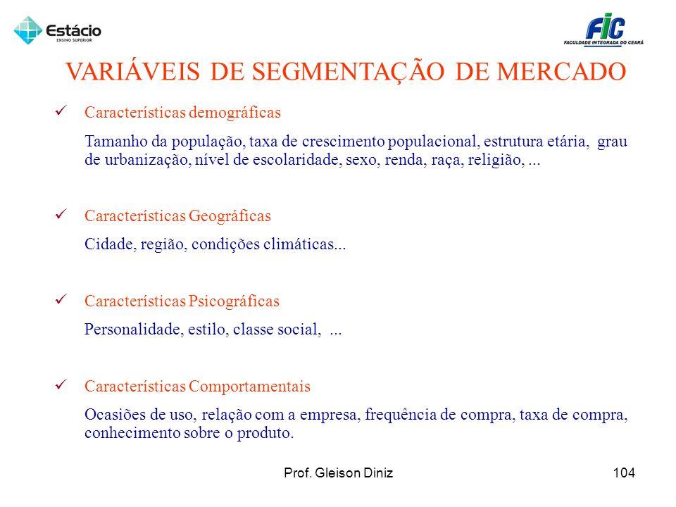 VARIÁVEIS DE SEGMENTAÇÃO DE MERCADO