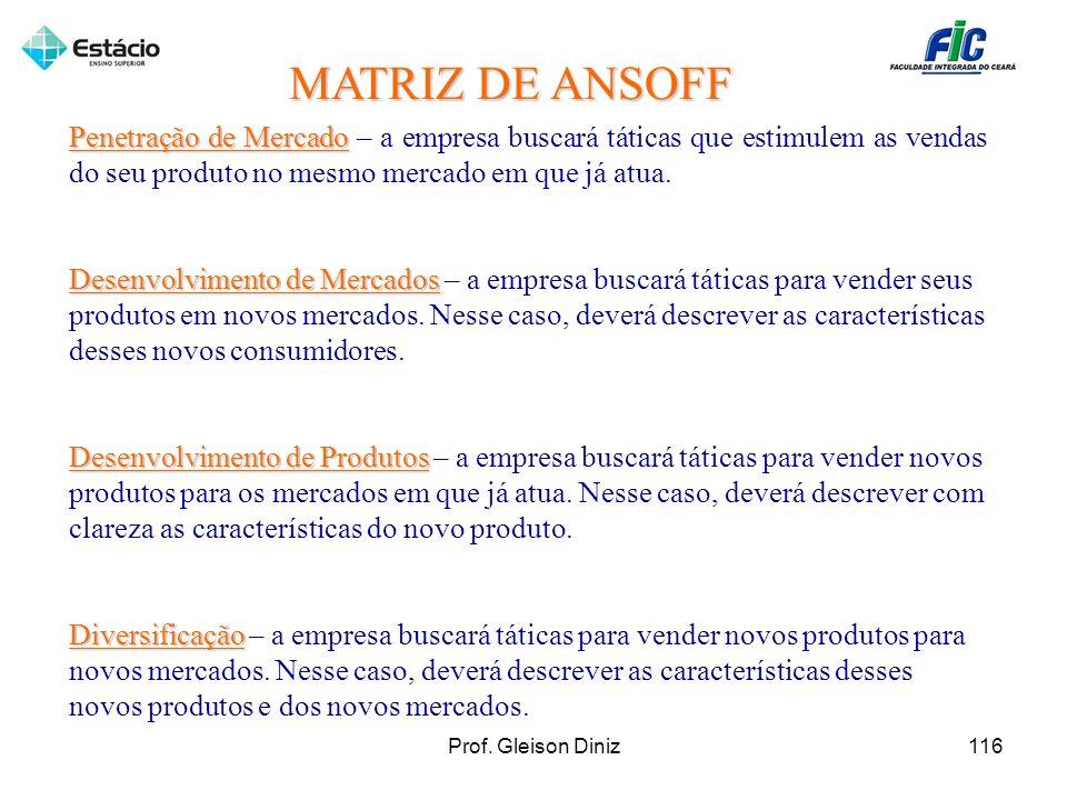 MATRIZ DE ANSOFF Penetração de Mercado – a empresa buscará táticas que estimulem as vendas do seu produto no mesmo mercado em que já atua.