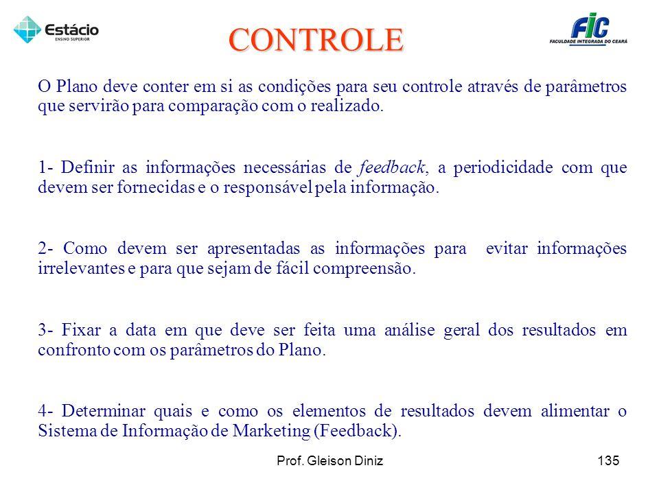 CONTROLE O Plano deve conter em si as condições para seu controle através de parâmetros que servirão para comparação com o realizado.