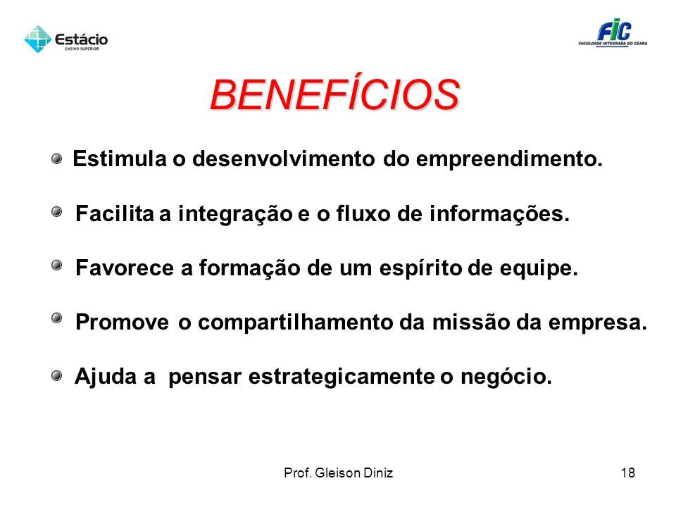 BENEFÍCIOS Estimula o desenvolvimento do empreendimento.