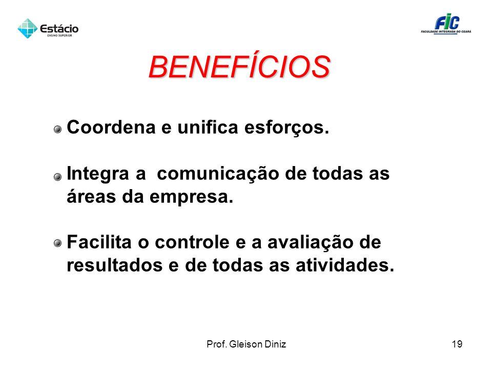 BENEFÍCIOS Coordena e unifica esforços.