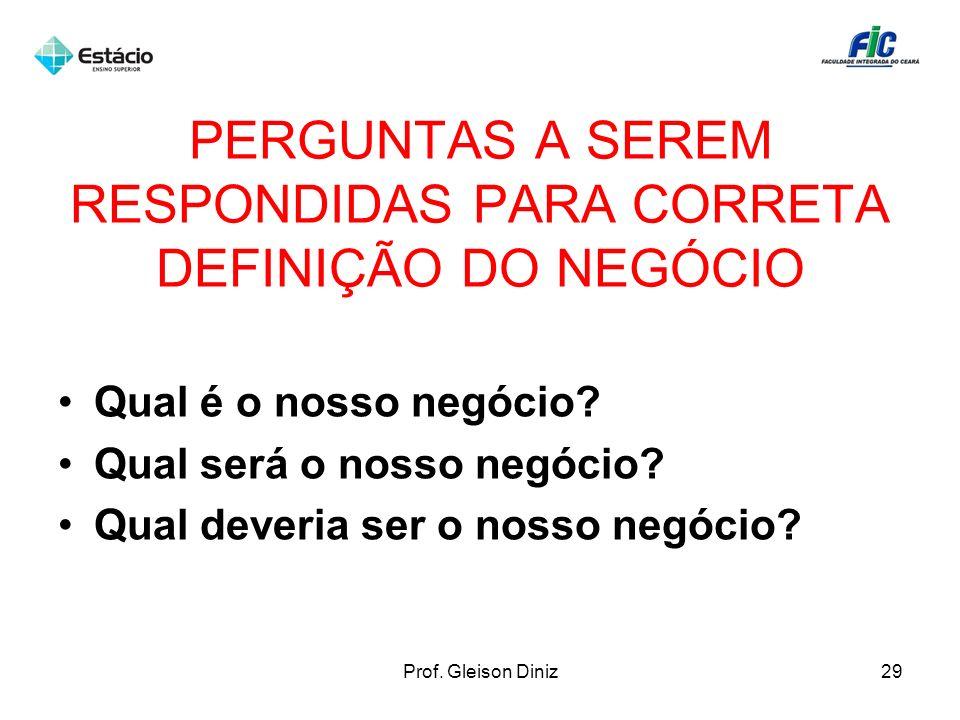 PERGUNTAS A SEREM RESPONDIDAS PARA CORRETA DEFINIÇÃO DO NEGÓCIO