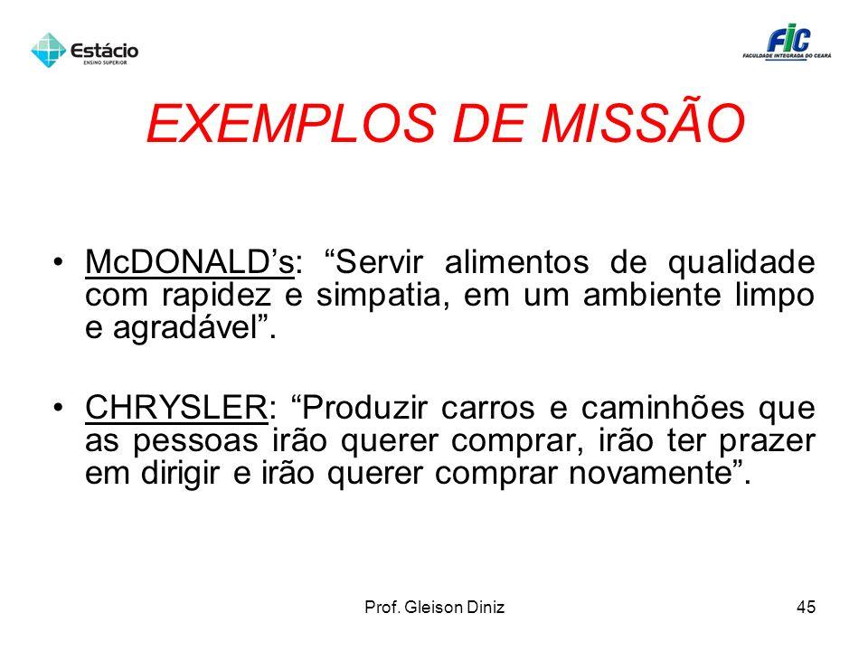 EXEMPLOS DE MISSÃO McDONALD's: Servir alimentos de qualidade com rapidez e simpatia, em um ambiente limpo e agradável .