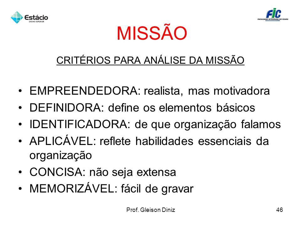 CRITÉRIOS PARA ANÁLISE DA MISSÃO