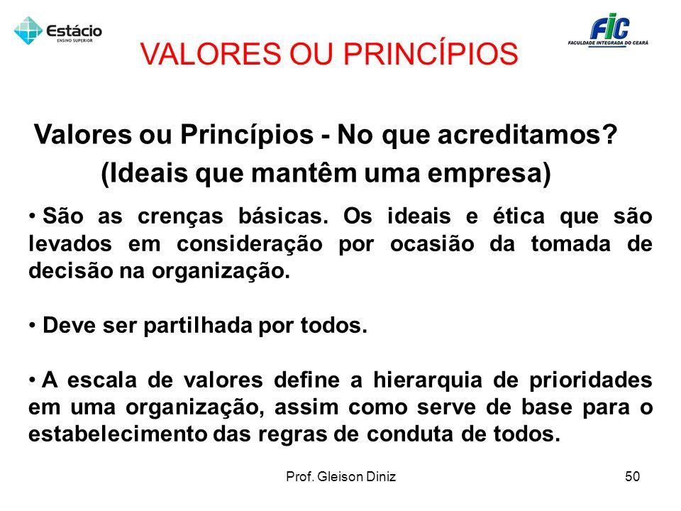 VALORES OU PRINCÍPIOS Valores ou Princípios - No que acreditamos