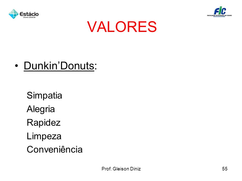 VALORES Dunkin'Donuts: Simpatia Alegria Rapidez Limpeza Conveniência