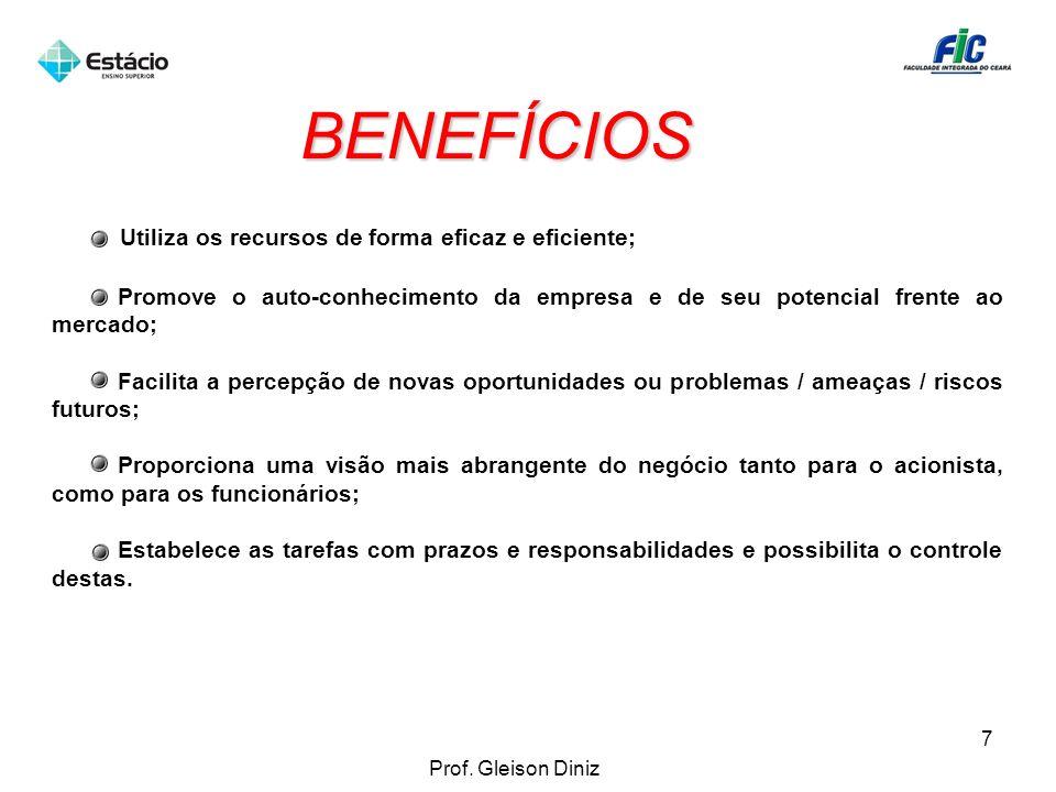 BENEFÍCIOS Utiliza os recursos de forma eficaz e eficiente;
