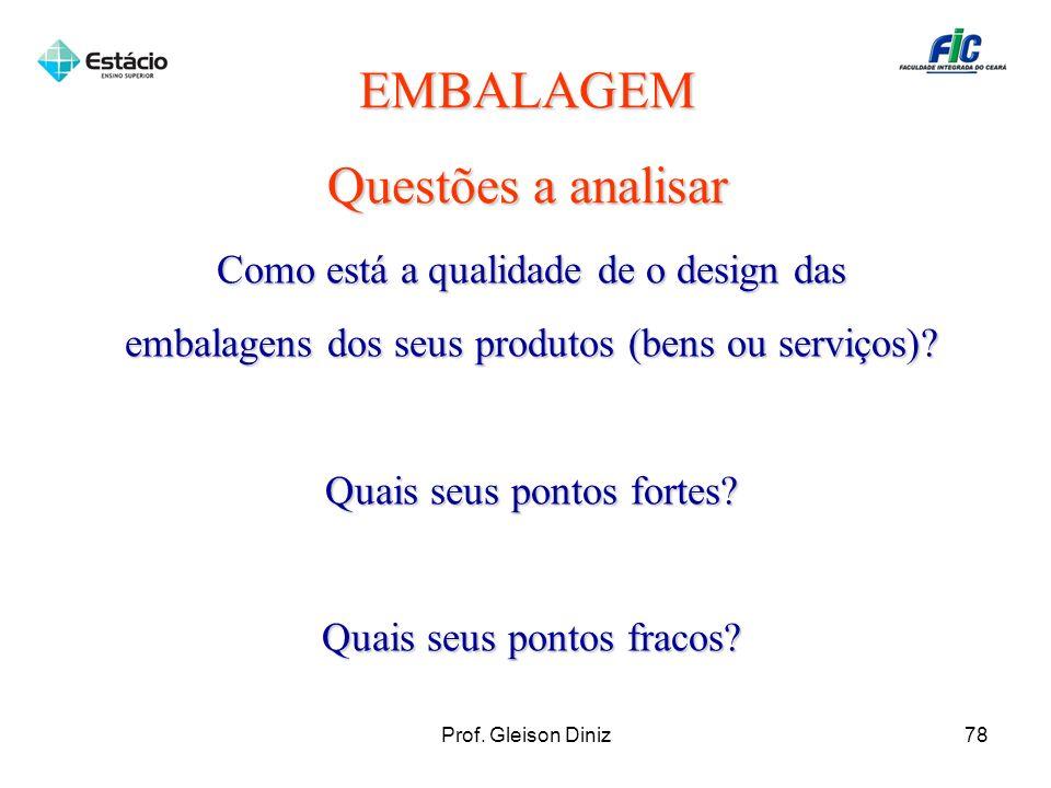 EMBALAGEM Questões a analisar Como está a qualidade de o design das