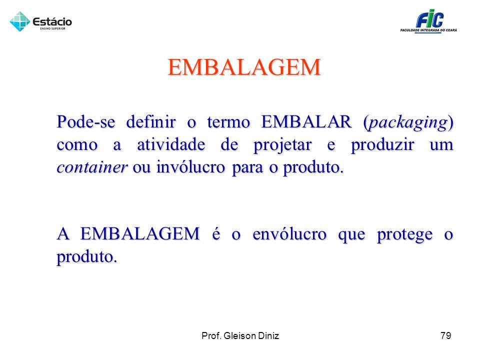 EMBALAGEM Pode-se definir o termo EMBALAR (packaging) como a atividade de projetar e produzir um container ou invólucro para o produto.