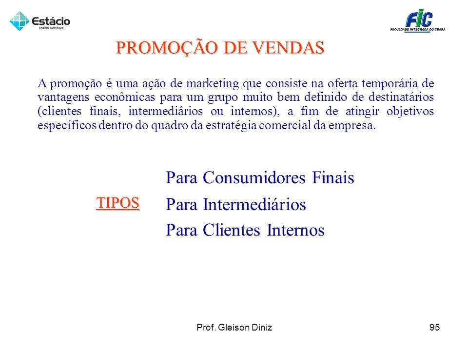 Para Consumidores Finais Para Intermediários Para Clientes Internos