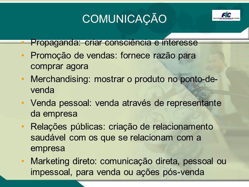 COMUNICAÇÃO Propaganda: criar consciência e interesse