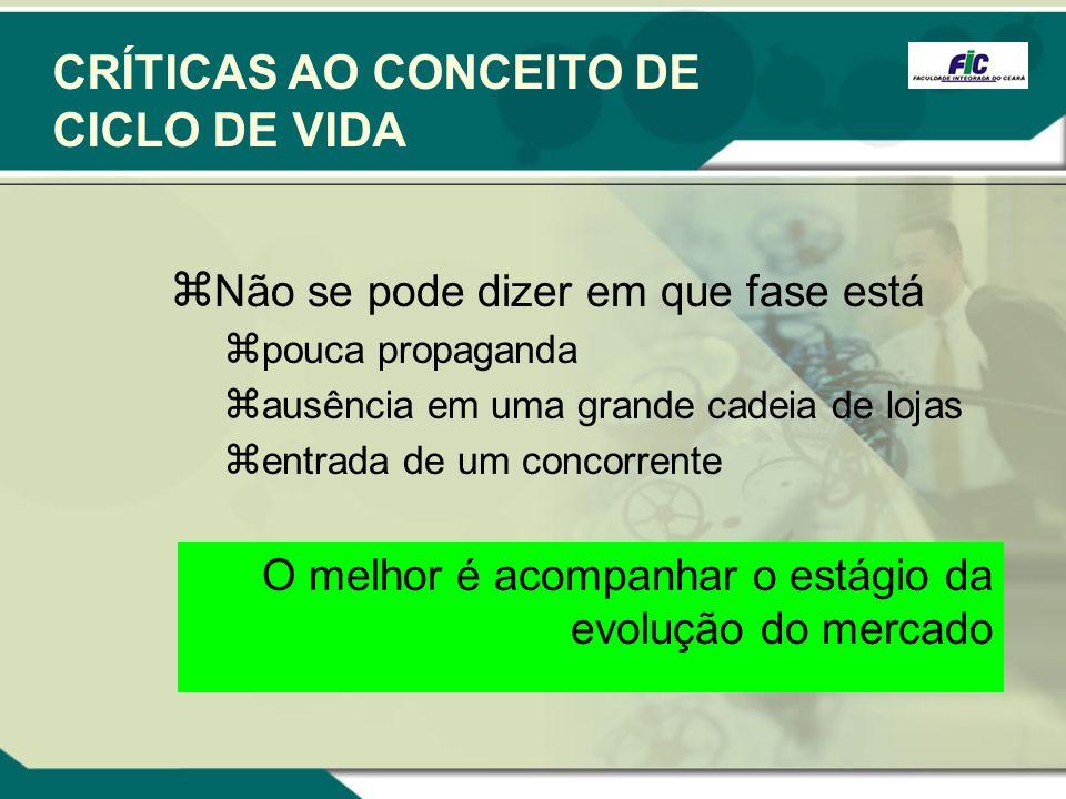 CRÍTICAS AO CONCEITO DE CICLO DE VIDA