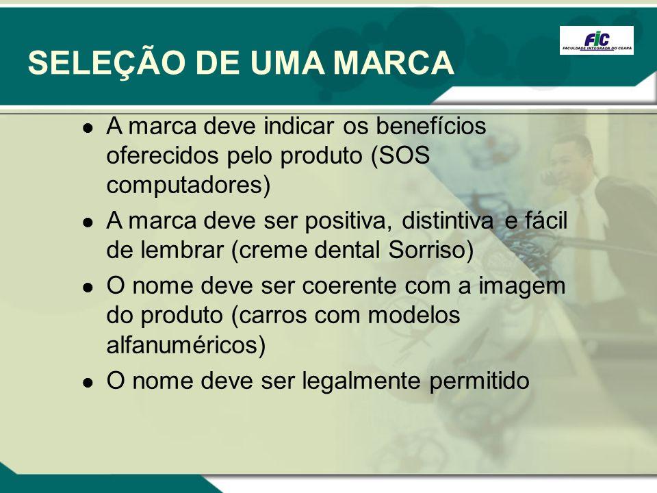 SELEÇÃO DE UMA MARCAA marca deve indicar os benefícios oferecidos pelo produto (SOS computadores)