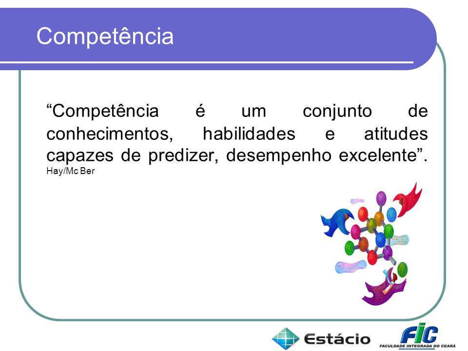 Competência Competência é um conjunto de conhecimentos, habilidades e atitudes capazes de predizer, desempenho excelente .