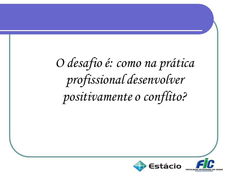 O desafio é: como na prática profissional desenvolver positivamente o conflito