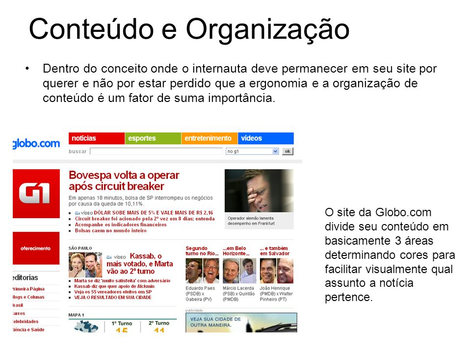 Conteúdo e Organização