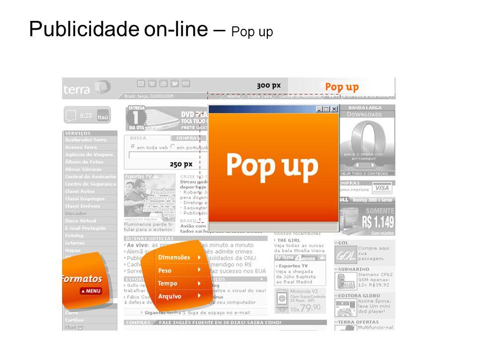 Publicidade on-line – Pop up