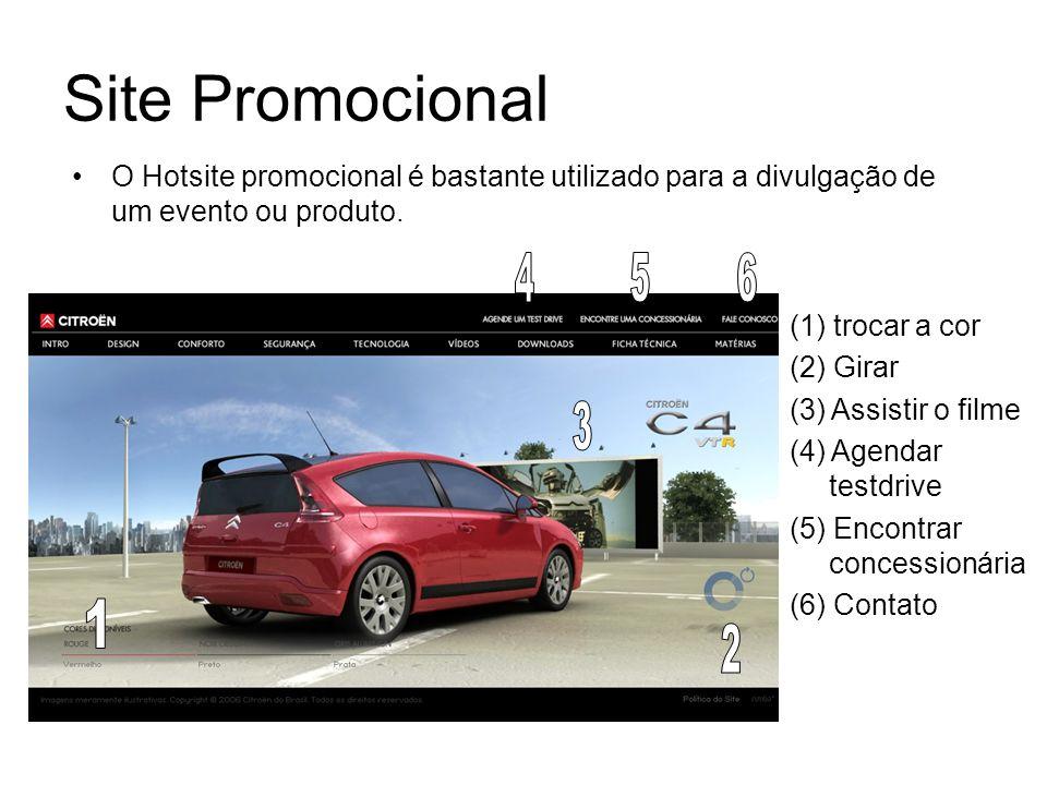 Site Promocional O Hotsite promocional é bastante utilizado para a divulgação de um evento ou produto.