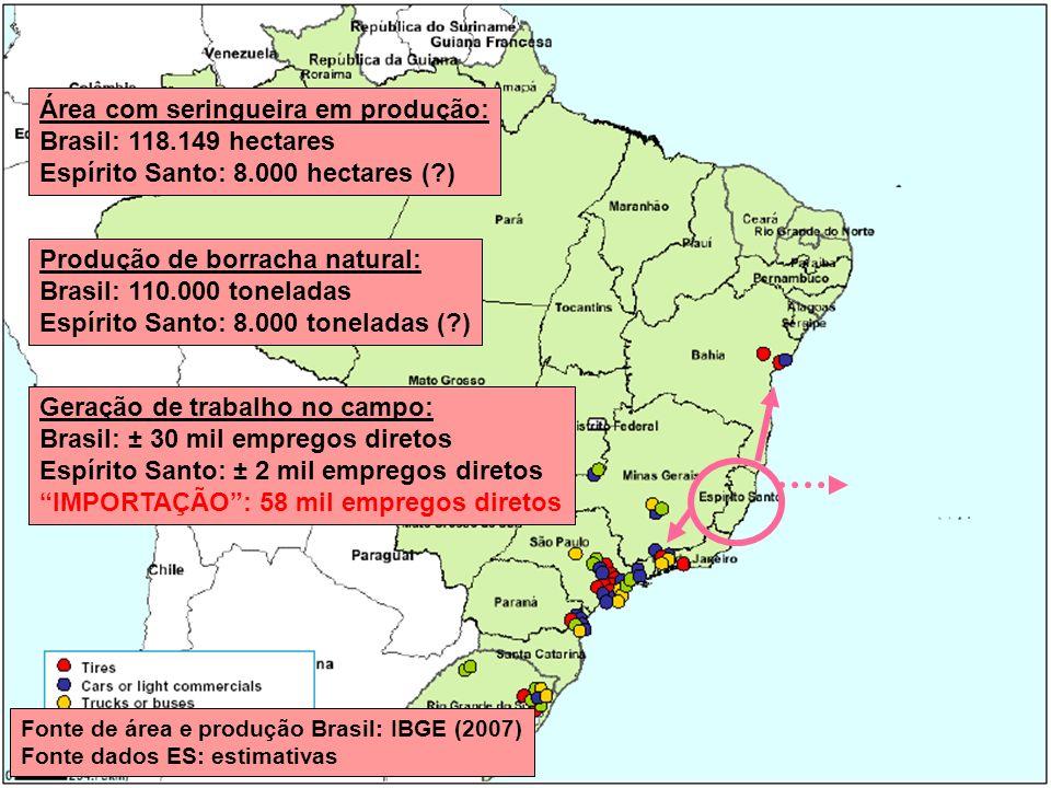 Área com seringueira em produção: Brasil: 118.149 hectares