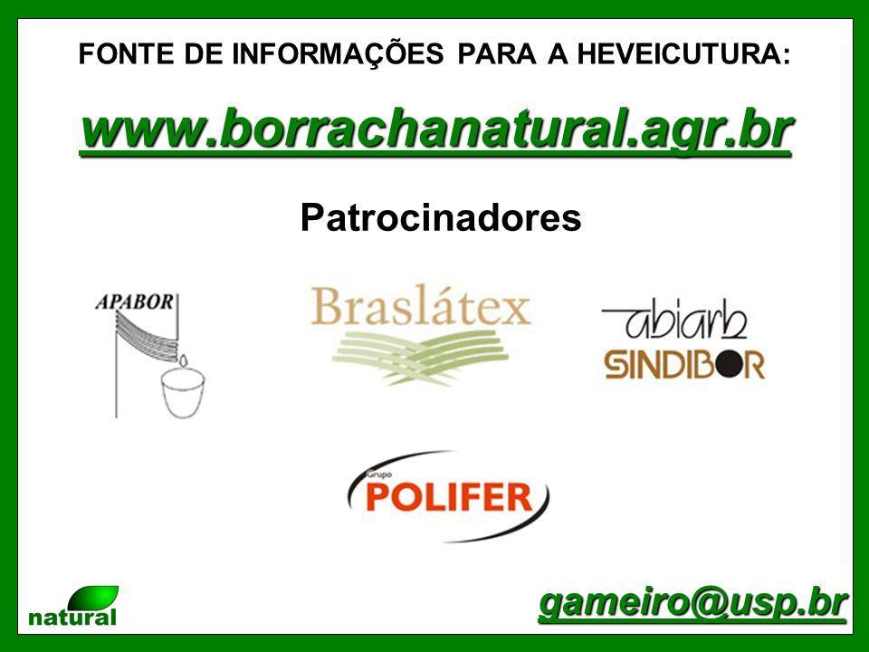 FONTE DE INFORMAÇÕES PARA A HEVEICUTURA: www.borrachanatural.agr.br