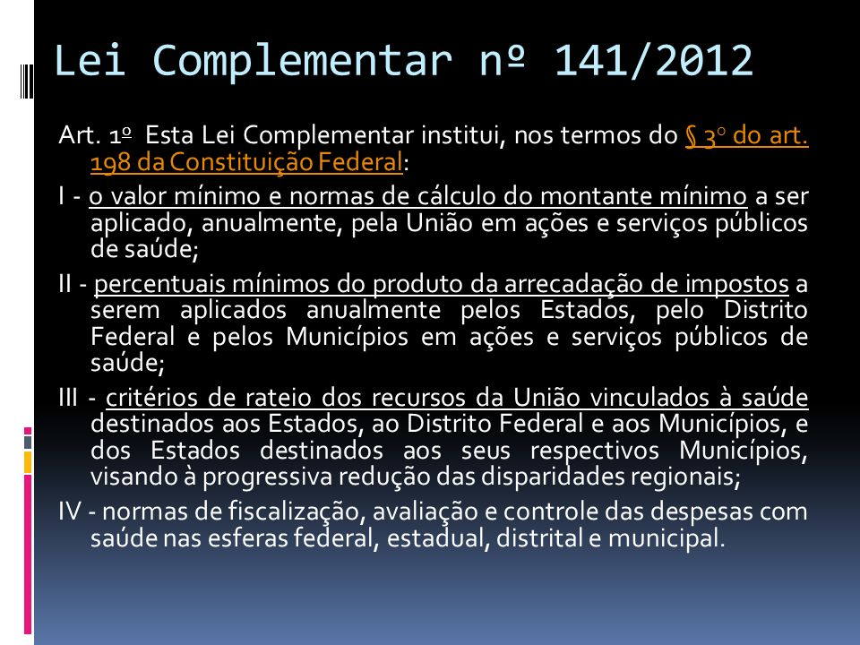 Lei Complementar nº 141/2012