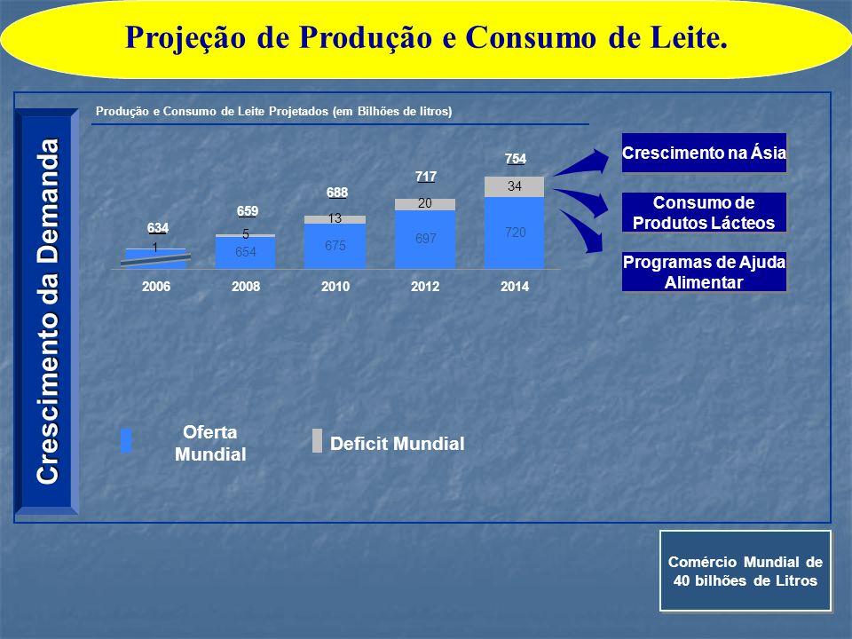 Projeção de Produção e Consumo de Leite.